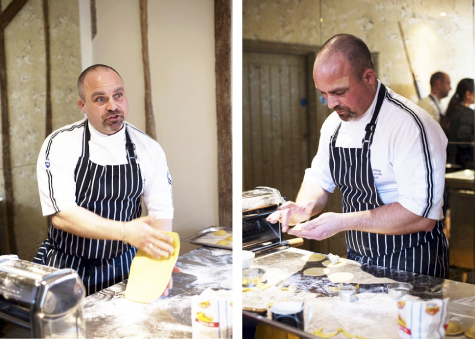 Two shots of Galloping Gourmet chef preparing canapés