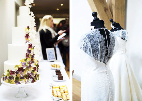 Two shots of tiered wedding cake with flower decoration and two mannequins in wedding gowns