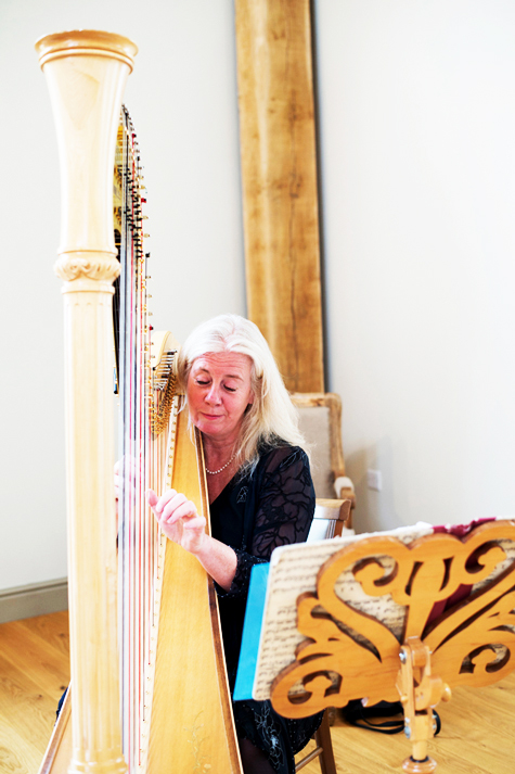 Lady playing harp