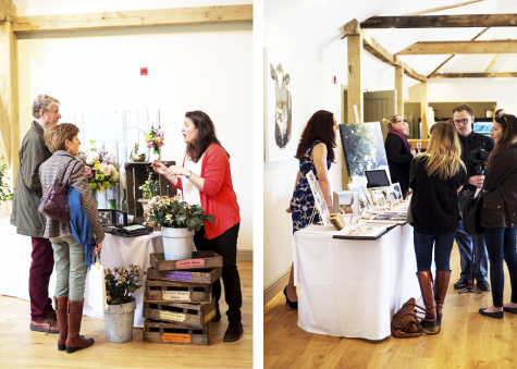 Two shots of visitors browsing and chatting to suppliers