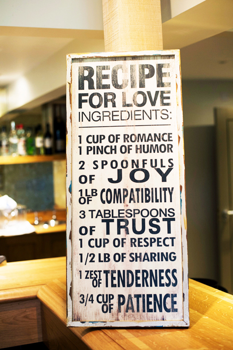 Recipe for love signage with romantic words