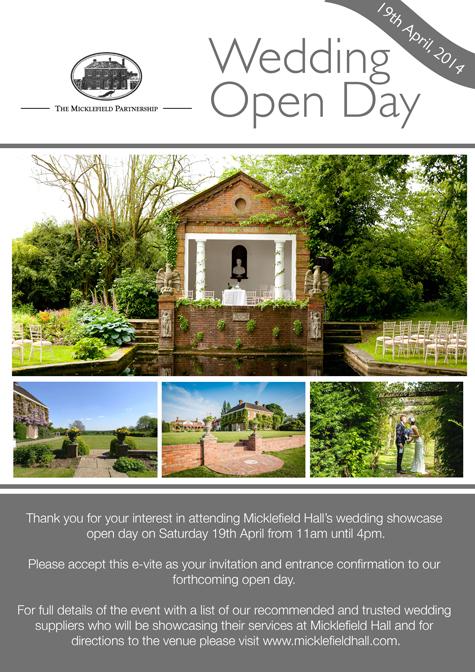 Invite to Micklefield Hall wedding fayre