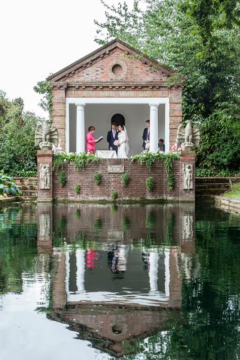 Micklefield Hall Wedding ceremonies in the Grotto by the pond