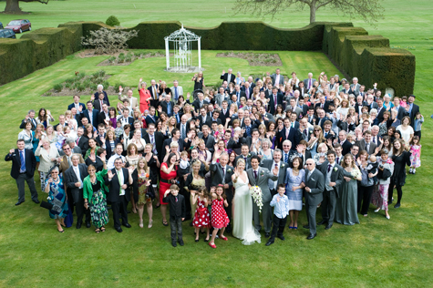 Ariel crowd shot outside of wedding party