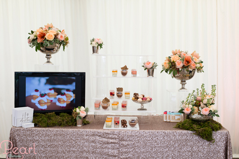 Videographer stand with screen and floral decorations