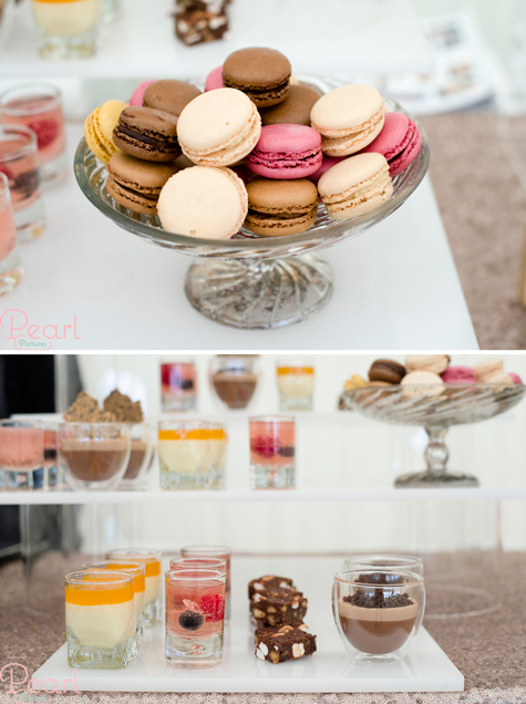 Three detail shots showing macarons and mini desserts in glasses on Kalm Kitchen's stand