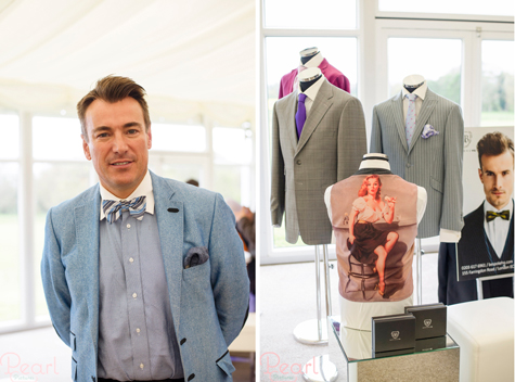 Two shots of Bespoke HQ's stand showing suits and the male owner