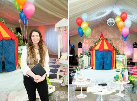 Side by side shots of Gabriella from Gabriella & Octavia children's parties and her stand with children's tent and balloons