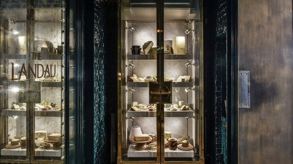 The cheese cabinet at Roux at the Landau