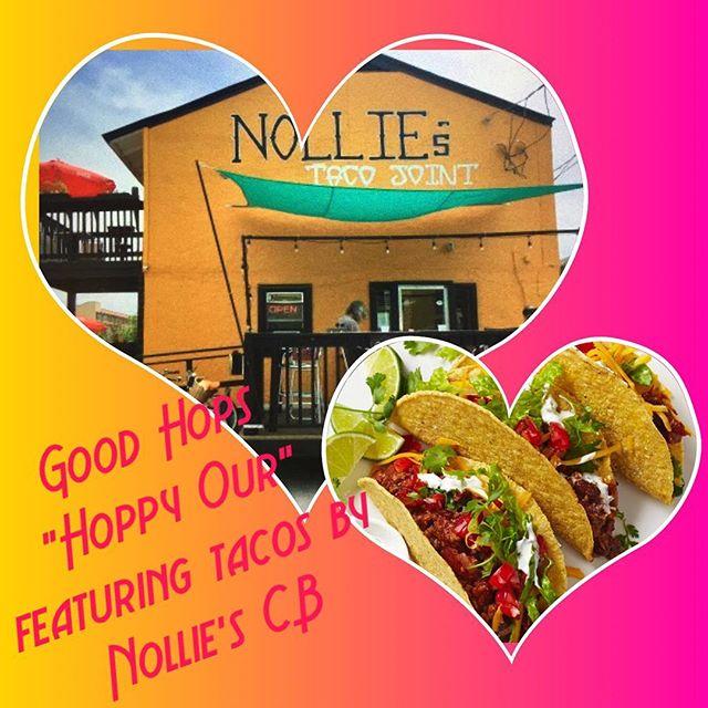 Tacos + beer = Love! Taproom, Tonight, 5-7pm. #goodhopsbrewing #tacosandbeer #hoppyour #itsnothappyhour #drinklocal #carolinabeach