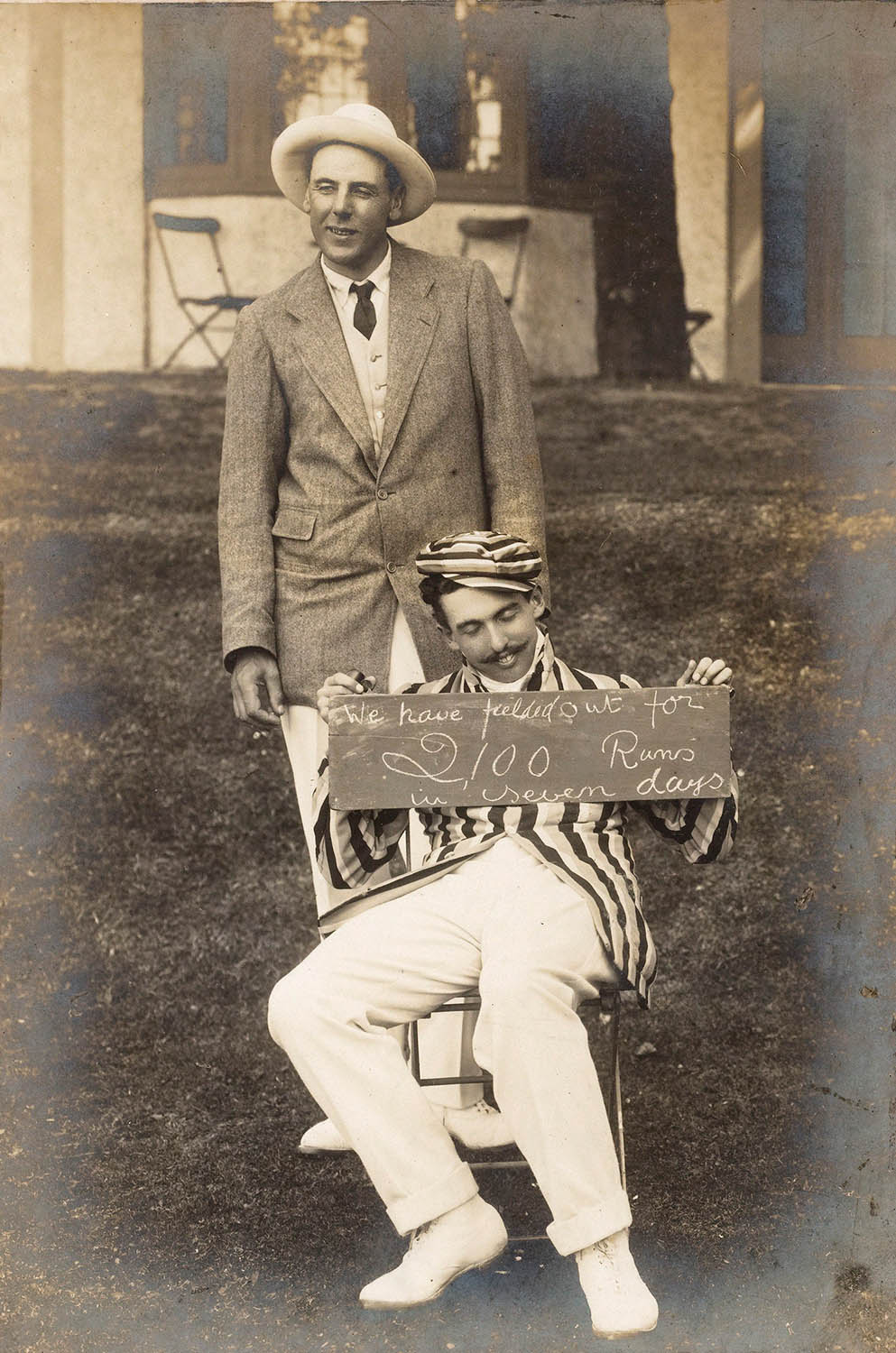 YGs Southern Tour 1908. Captain Bardwell exhausted from a week of cricket, with EG Tew - probably The Long Jigger -looking on.