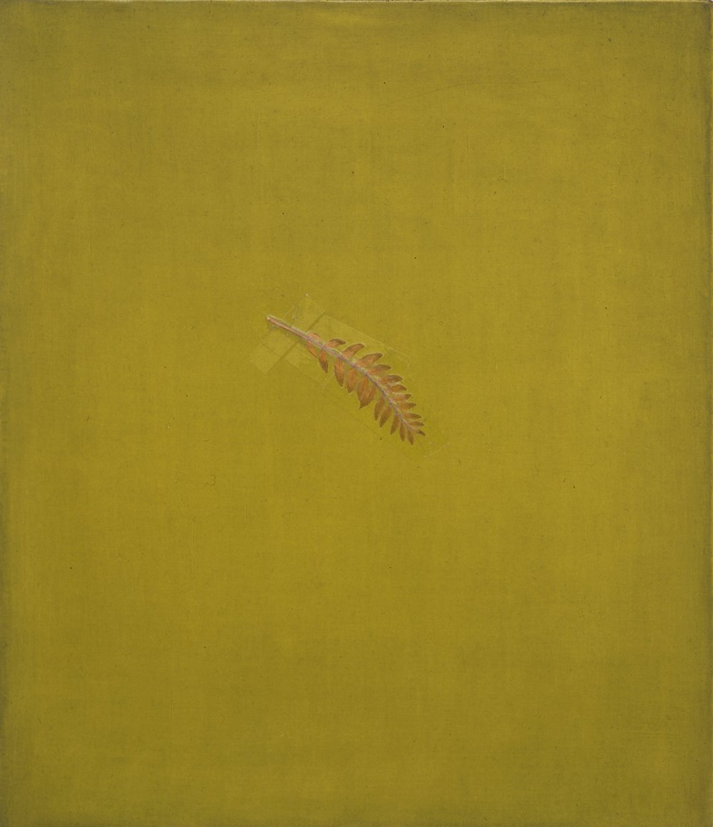 Williamsburg, New York City, April '92, 1992, 16x14,  oil, leaf and tape on linen