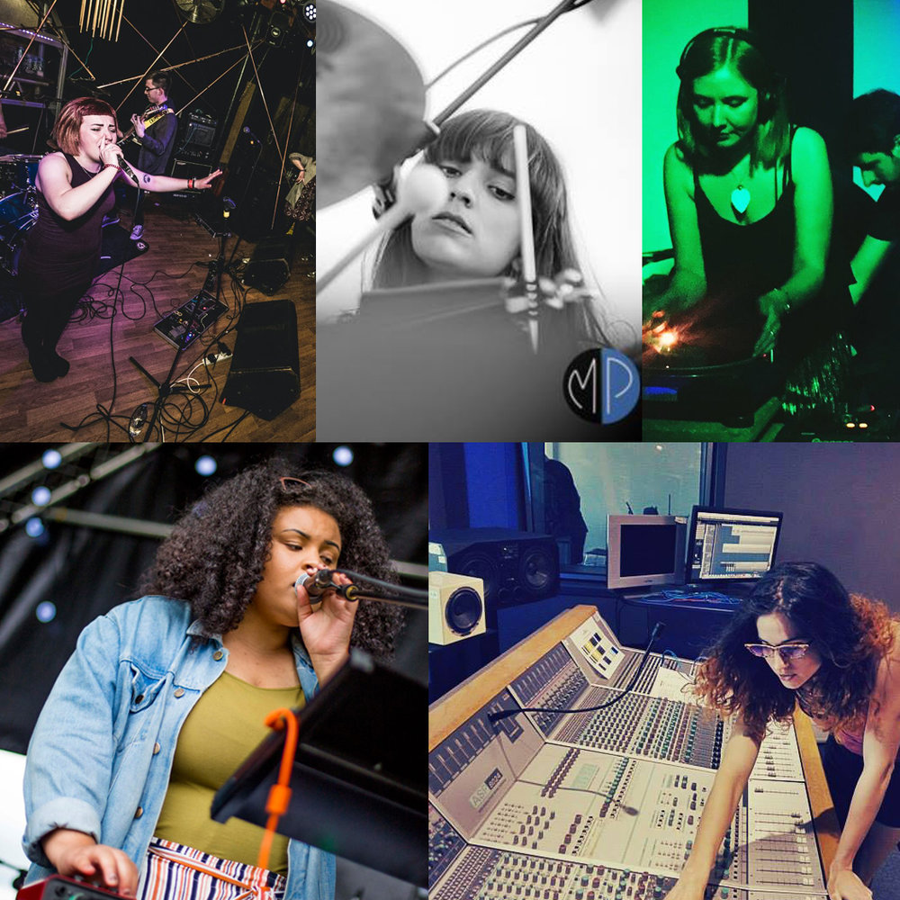Katie from the band Chroma, Emma from the band Islet and label/promoter Shape Records, DJ Jessie Belters, musician Eadyth,and sound engineer Aggela Mourgela.