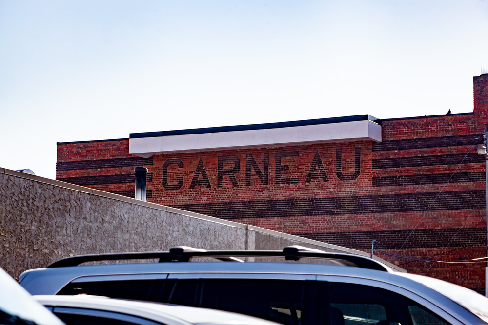 The lettering on the southern wall of Garneau Theatre.