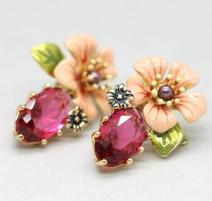 Caravanas les fleurs flores rosadas