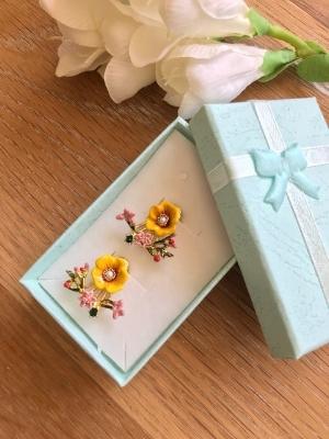 caravanas esmalte flores les fleurs