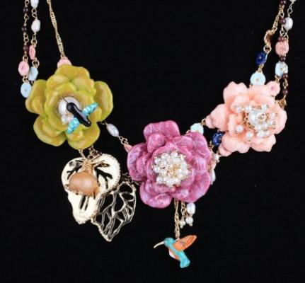 Collar pájaro les fleurs y rosas
