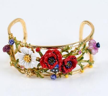 brazalete les fleurs rosas oro