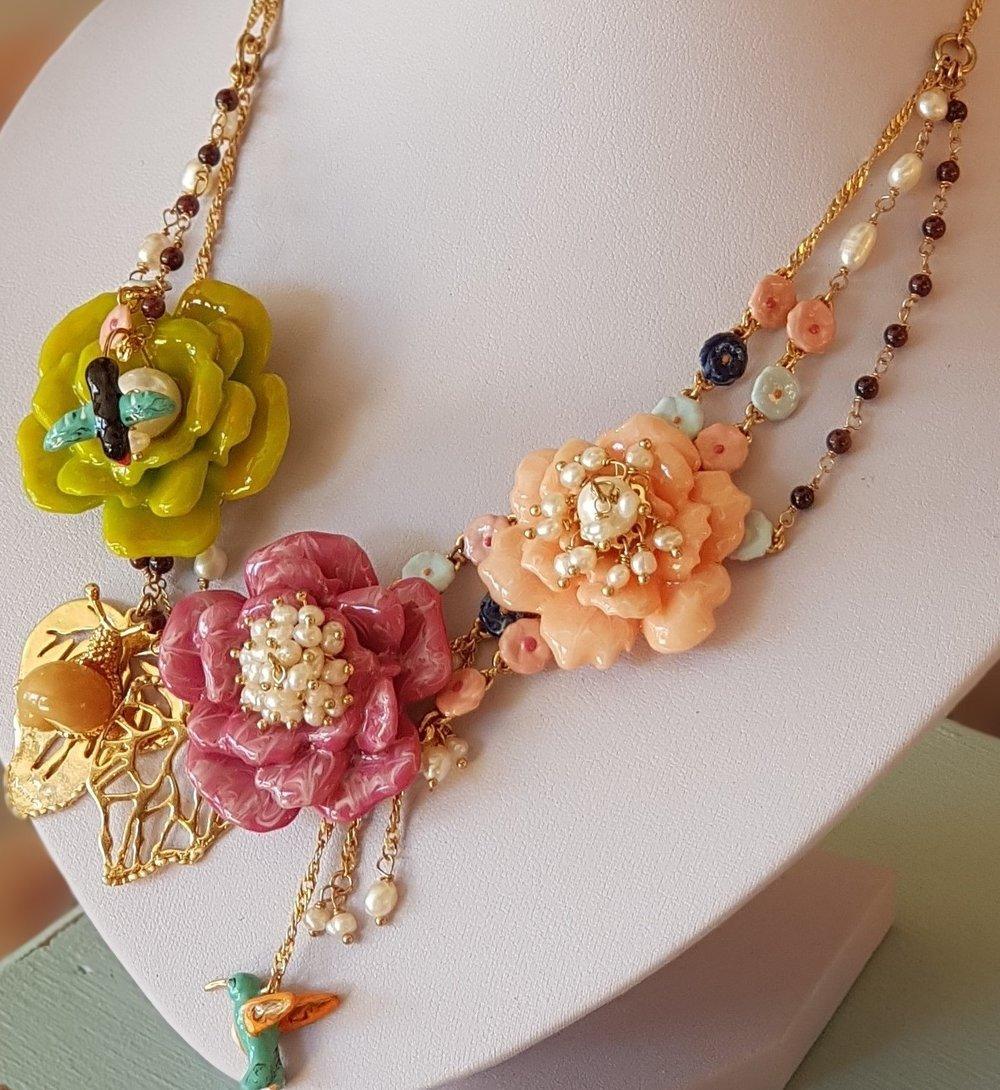 Collar pájaro les fleurs oro esmalte