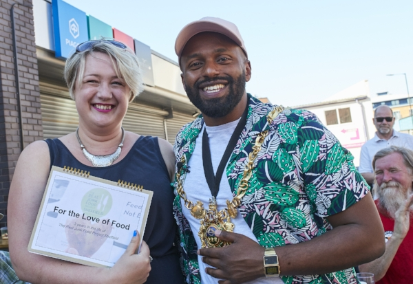 Jo with the Lord Mayor of Sheffield at The Real Junk Food Project Sheffield's recent 3rd birthday party. (Image credit: Jason Ruffell)