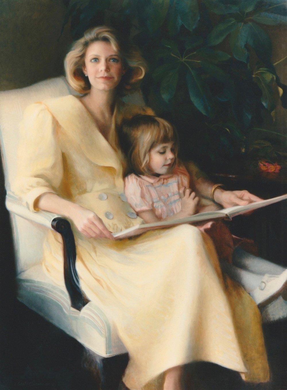 Oil Portrait, Mother & Child