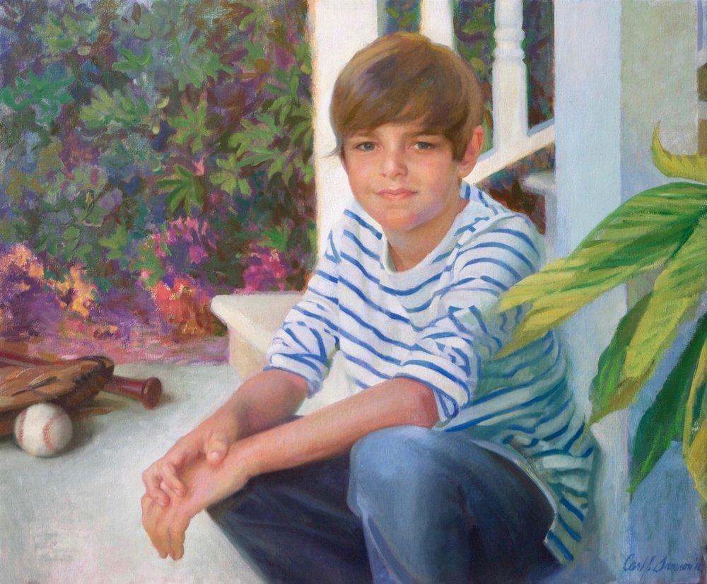 Oil Portrait, Boy on Steps