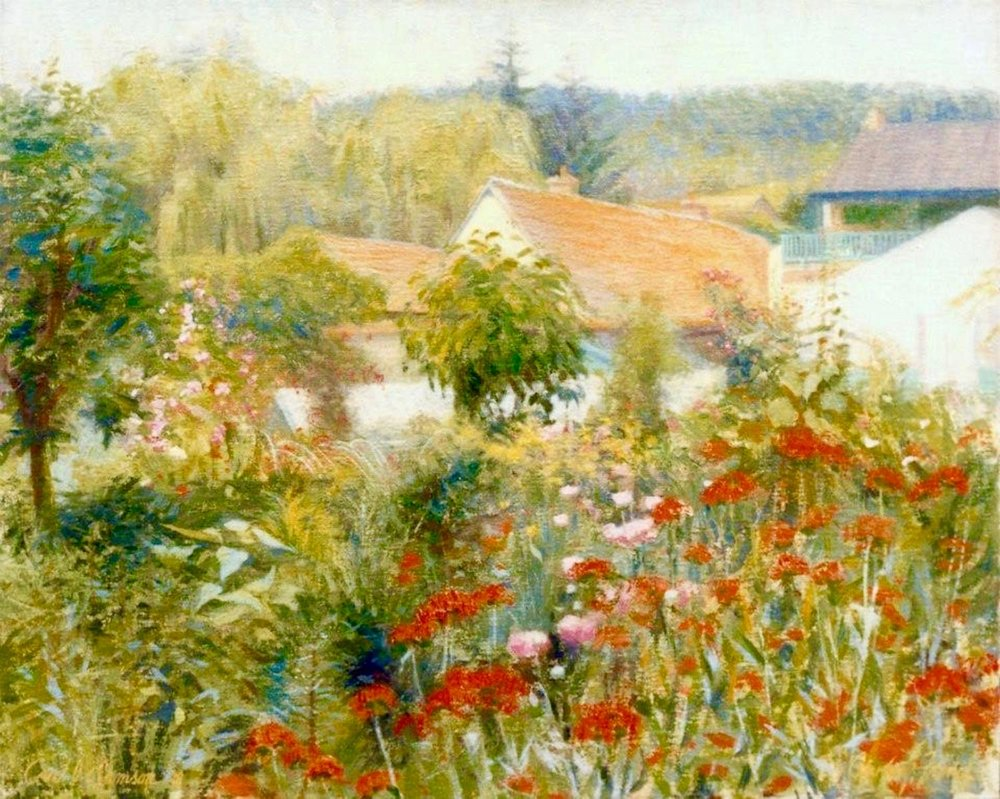 """Monet's Greenhouses, Giverny , 16"""" x 20"""", oil on linen canvas,  sold,  private collection"""