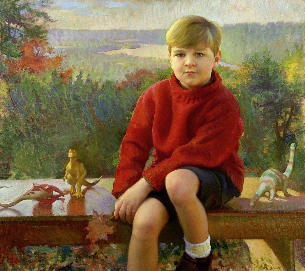 Oil Portrait, Boy with Dinosaurs