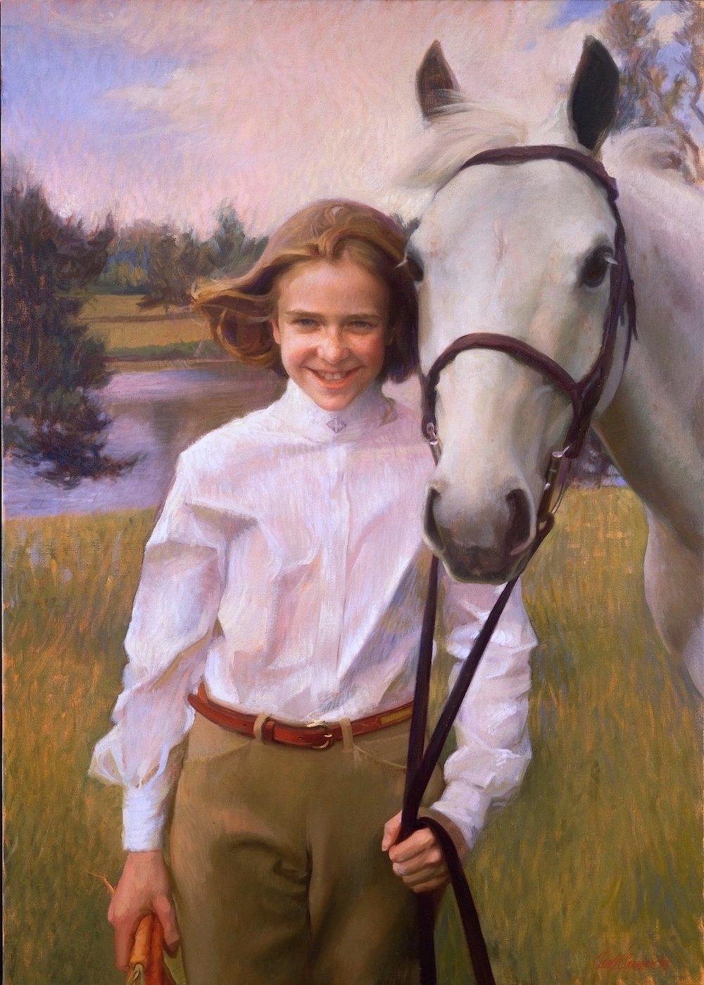 Oil Portrait, Girl & Horse