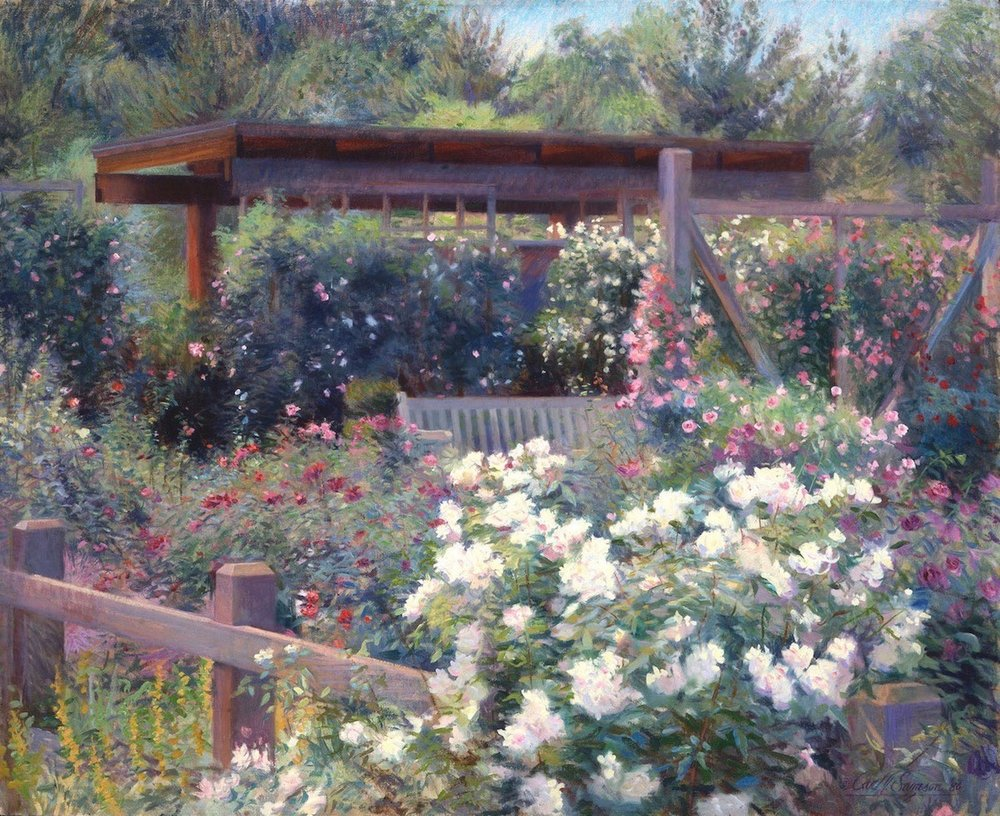 """Old Roses, National Arboretum ,  Washington DC , 34"""" x 42"""", oil on linen canvas,  sold,  private collection"""