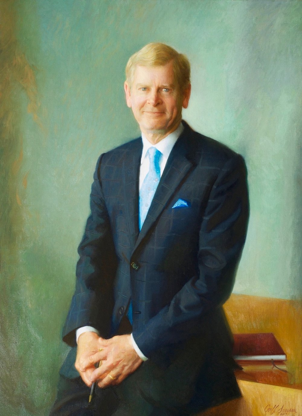 "Oil Portrait of David S. Taylor, CEO , 46"" x 34"", oil on linen canvas, Procter & Gamble collection"