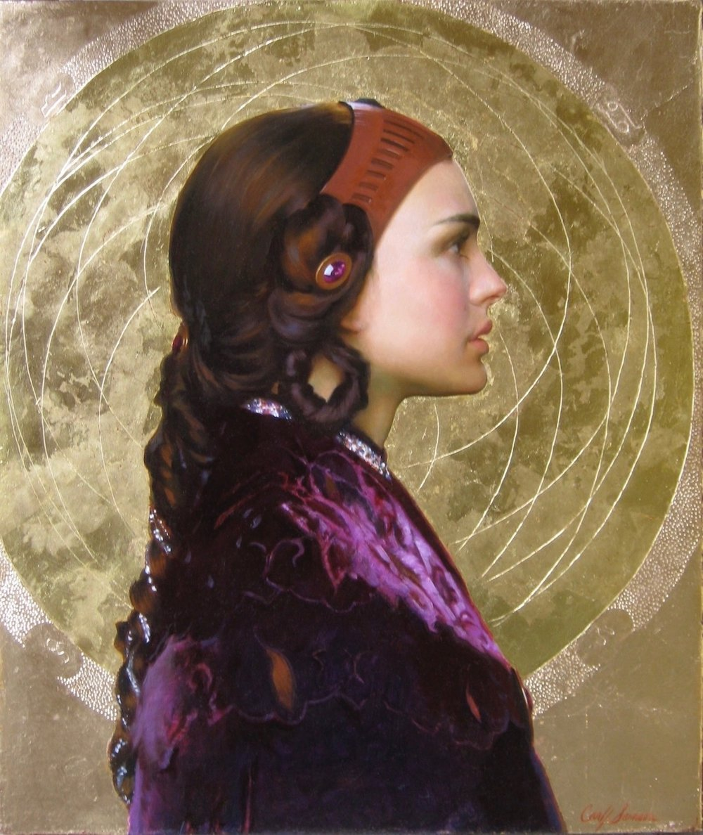 "Portrait of Natalie Portman as   Padmé Amidala Resplendent with Naboo Mandala  , 24"" x 20"", oil and gold leaf on chestnut wood panel, collection of George Lucas, LucasFilm Ltd."