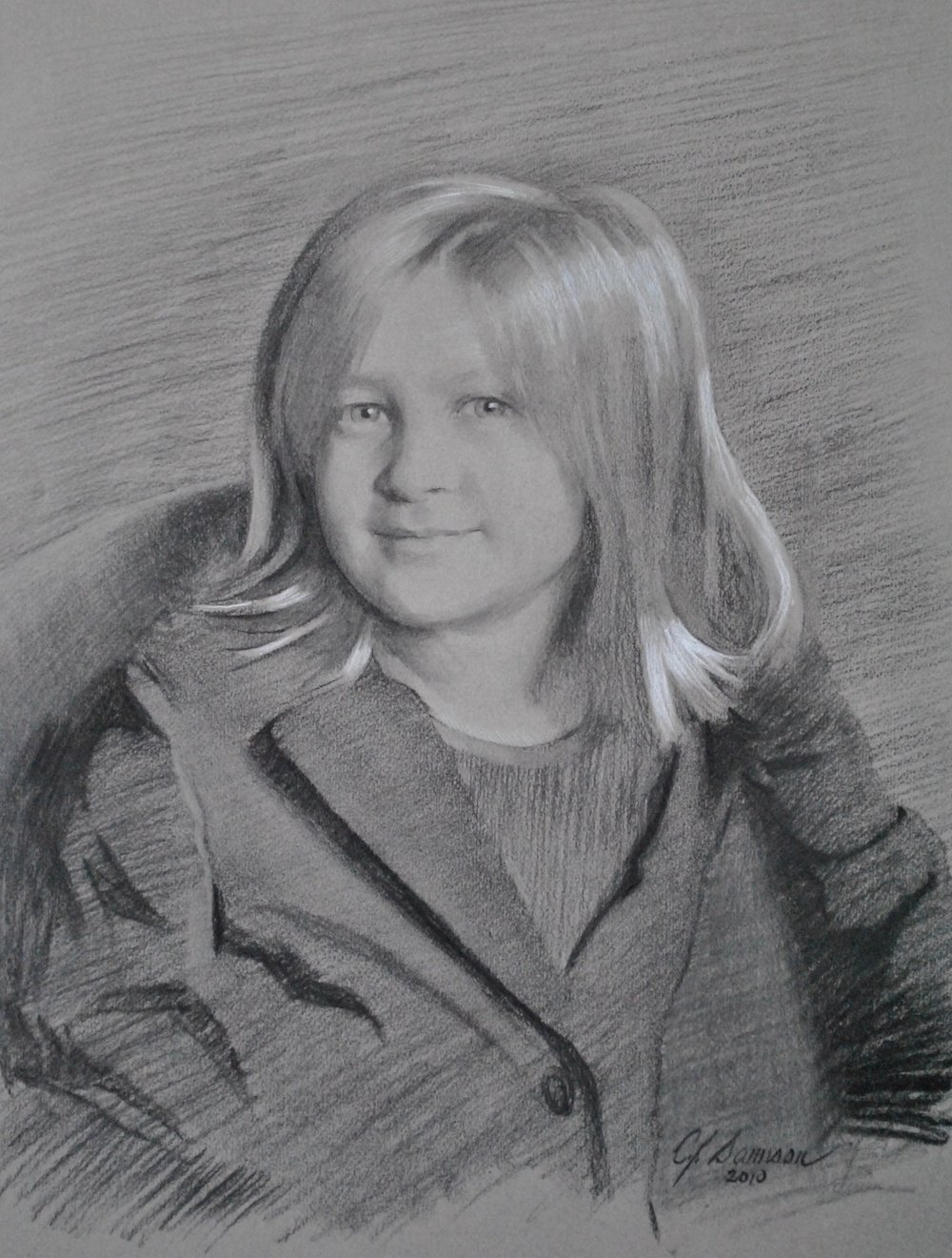 Charcoal & chalk portrait drawing