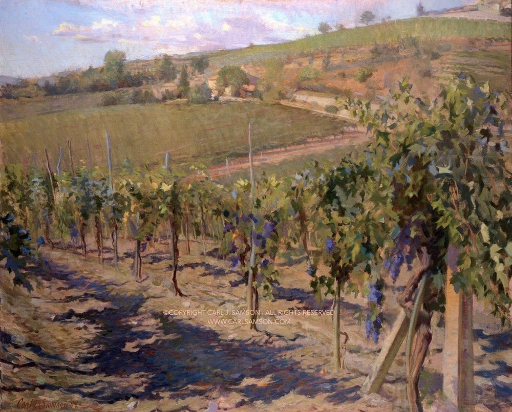 "Chianti Vineyards, Radda , 32"" x 39"", oil on linen canvas,  sold,  private collection"