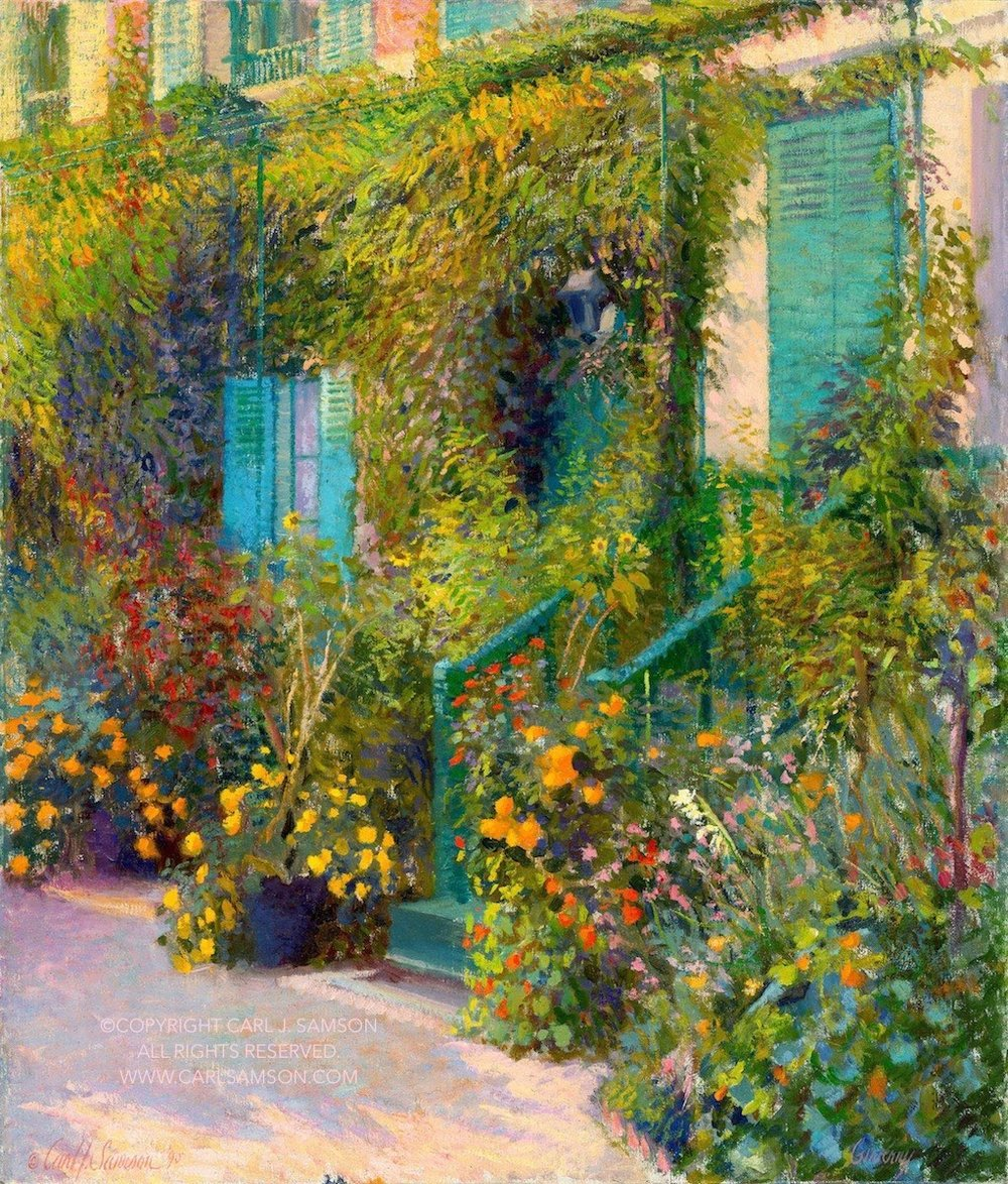 """Steps to Monet's, Giverny , 37"""" x 31"""", oil on linen canvas,  sold,  private collection"""