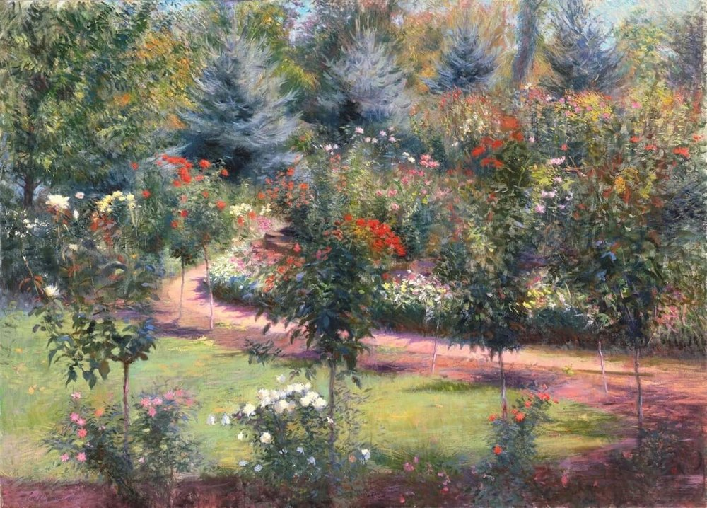 """September Roses, Ohio , 36"""" x 50"""", oil on linen canvas,  sold,  private collection"""