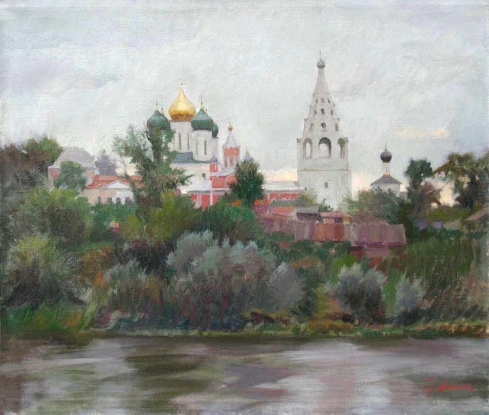 """Kolomna on the Moskva River, Russia , 17"""" x 20"""", oil on linen canvas,  sold,  private collection"""