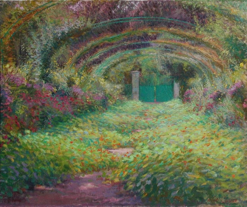 """La Grand Allée, Giverny , 32"""" x 38"""", oil on linen canvas,  sold,  private collection"""