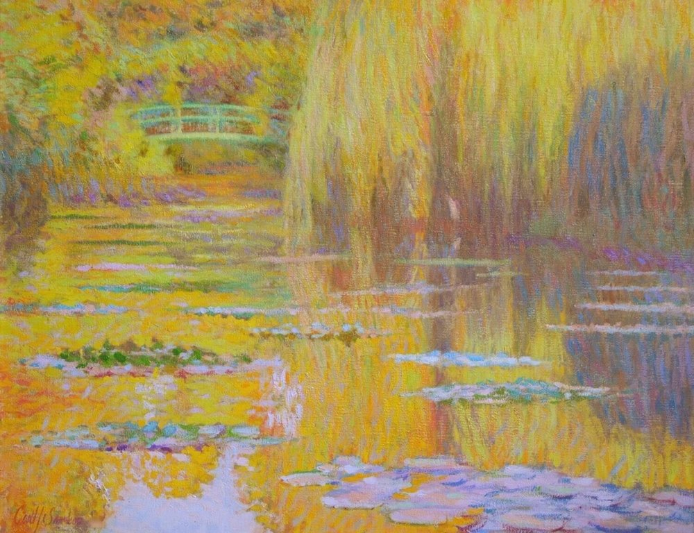 """Monet's Lilies, Sunrise ,  Giverny,  28"""" x 36"""", oil on linen canvas"""