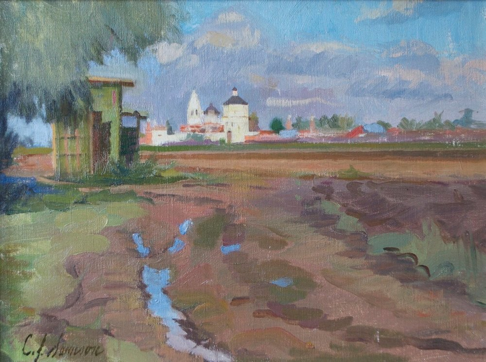 """Road Less Traveled, Kolomna, Russia , 12"""" x 16"""", oil on linen canvas"""
