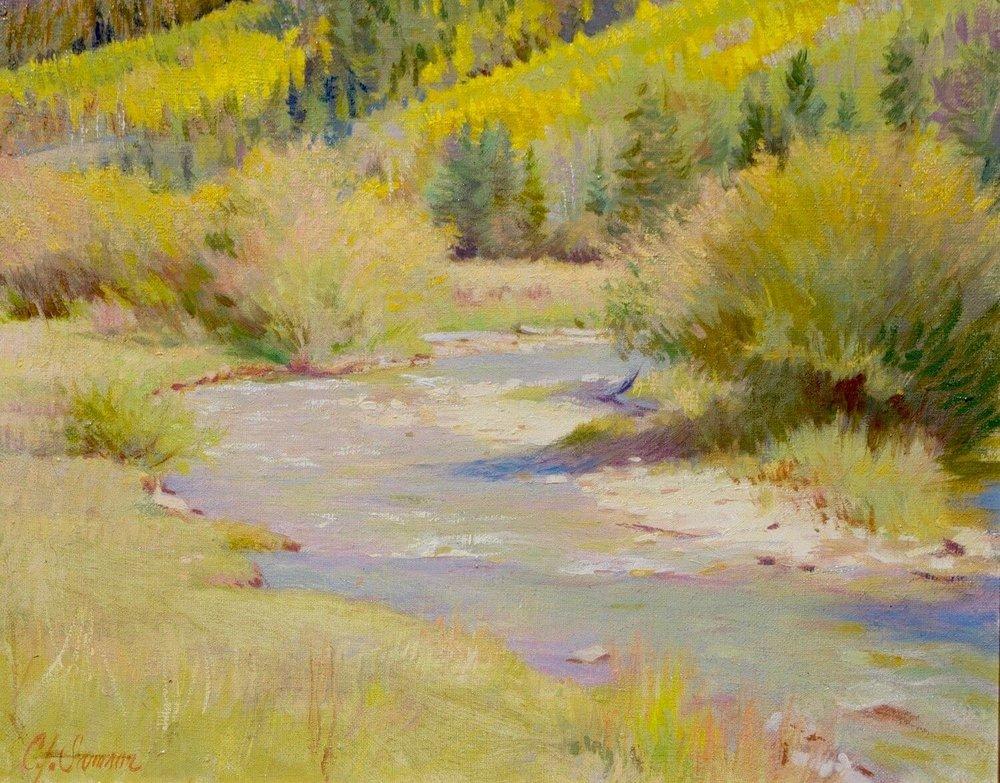 "River near Ashcroft, Colorado , 16"" x 20"", oil on linen canvas"