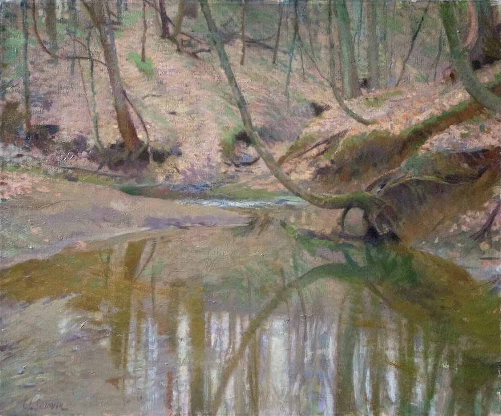 "Woodland Stream, Ohio , 20"" x 24"", oil on linen canvas"