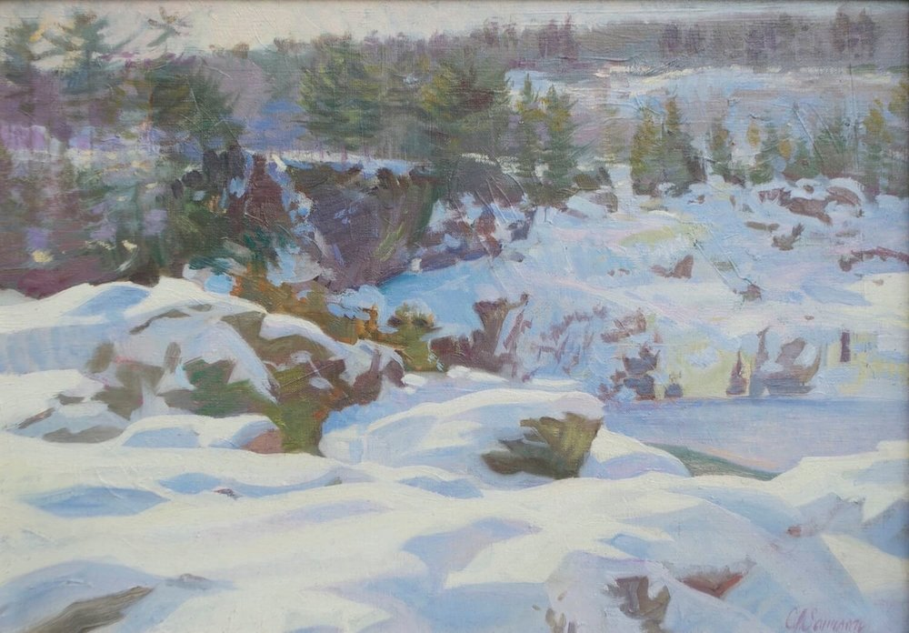 """Ice Floes, Quebec , 15"""" x 21"""", oil on linen canvas"""