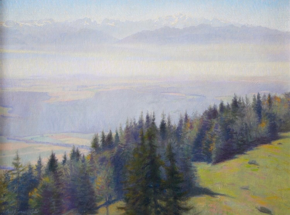 "Mont Blanc from the Jura ,  Switzerland , 23"" x 31"", oil on linen canvas"