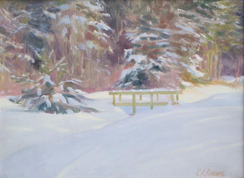 """Snowfall, Quebec , 12"""" x 16"""", oil on linen canvas"""
