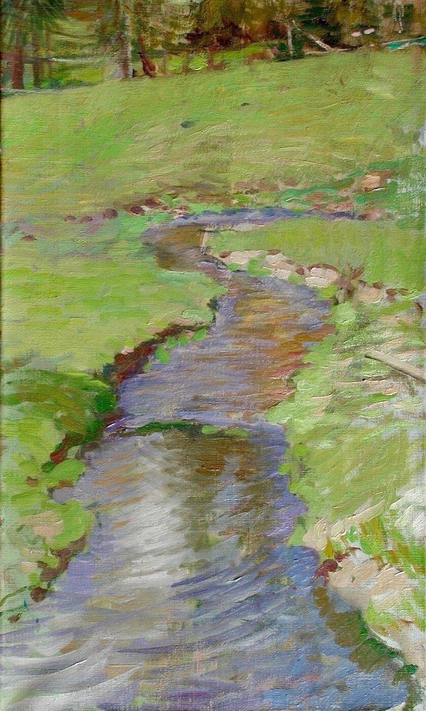 "Tumbling Creek , 22"" x 13"", oil on linen canvas"