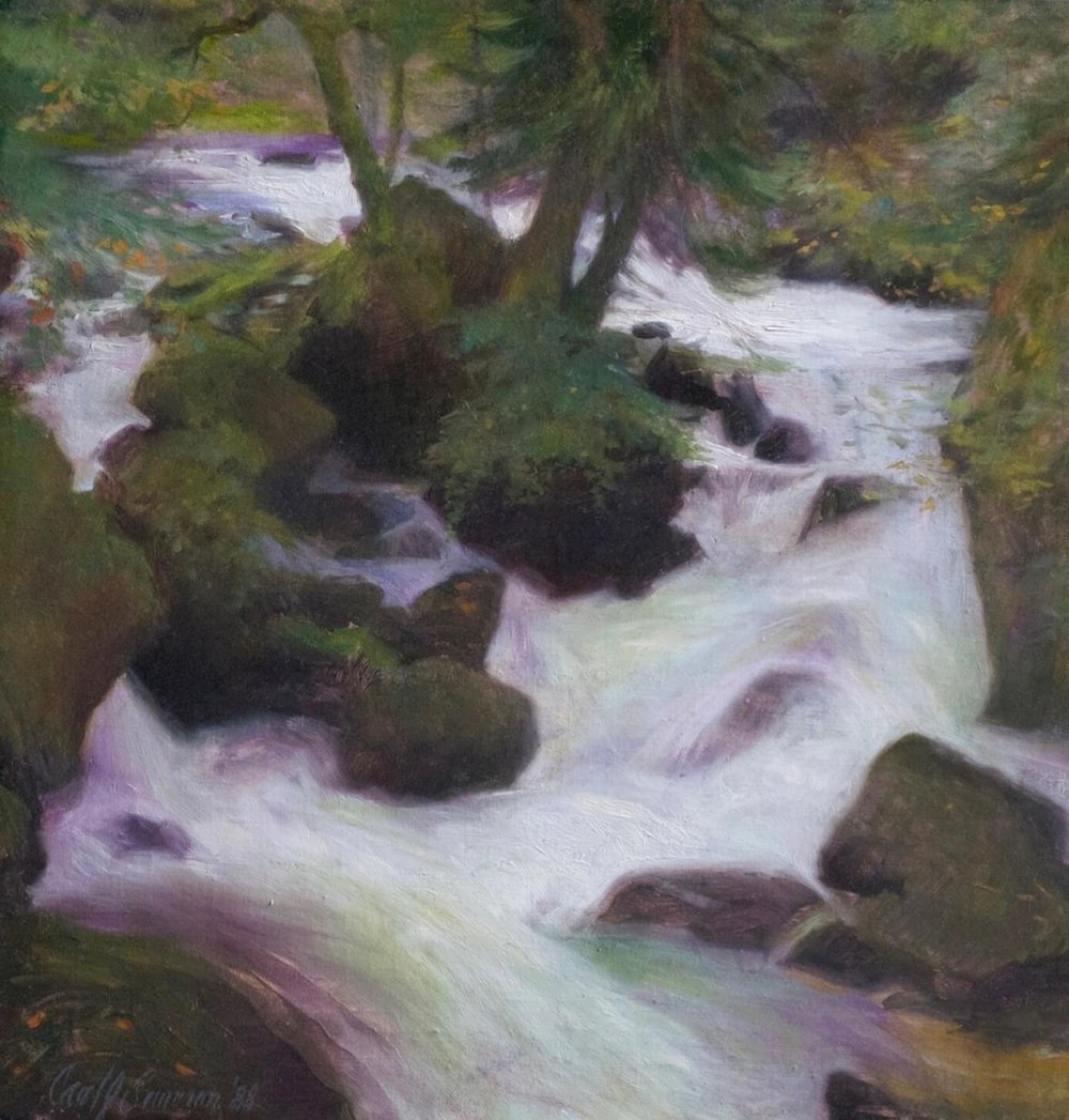 """Source of the Orbe, Switzerland , 17"""" x 16"""", oil on linen canvas"""