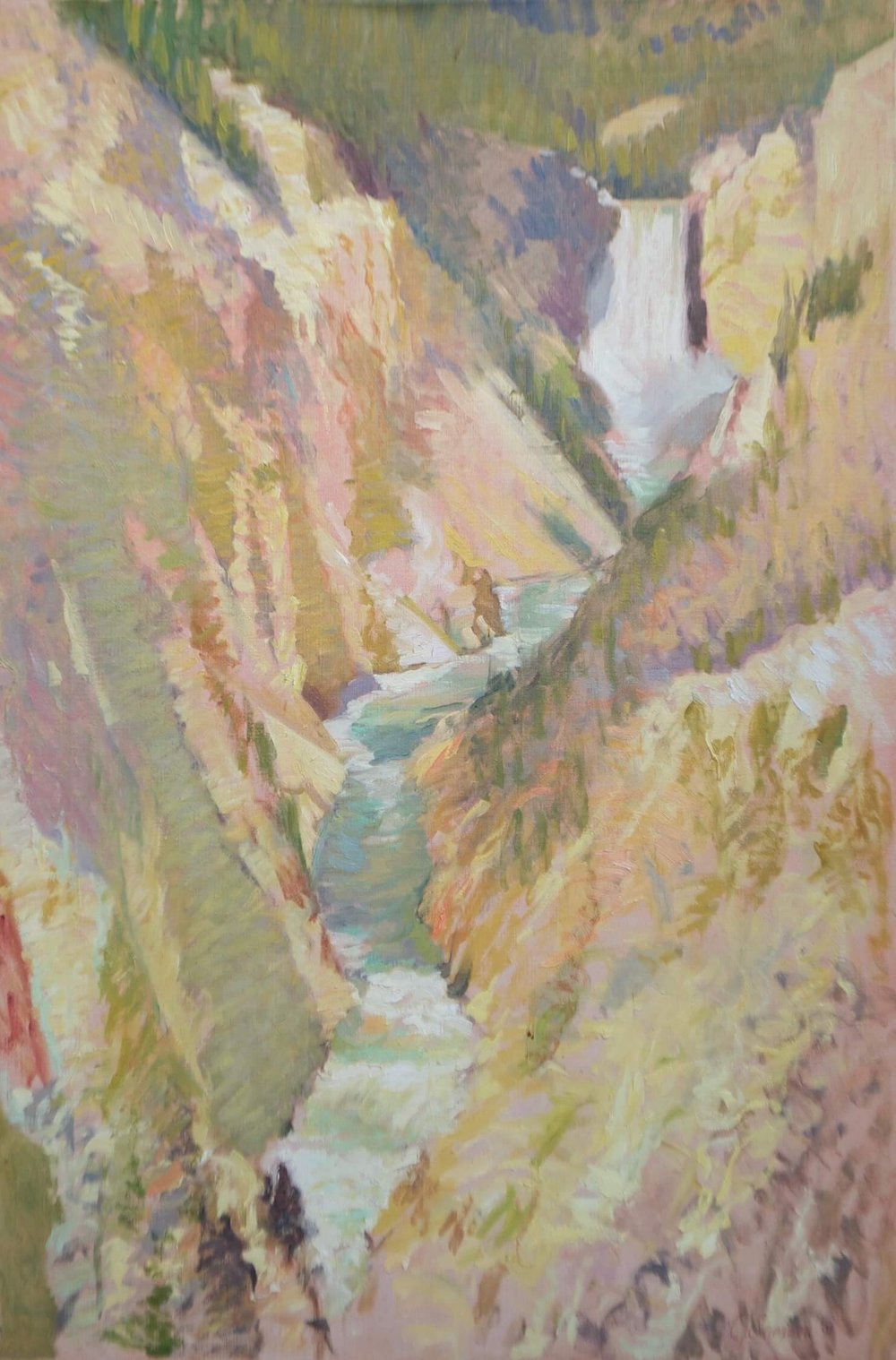 "Yellowstone Falls , 36"" x 24"", oil on linen canvas"