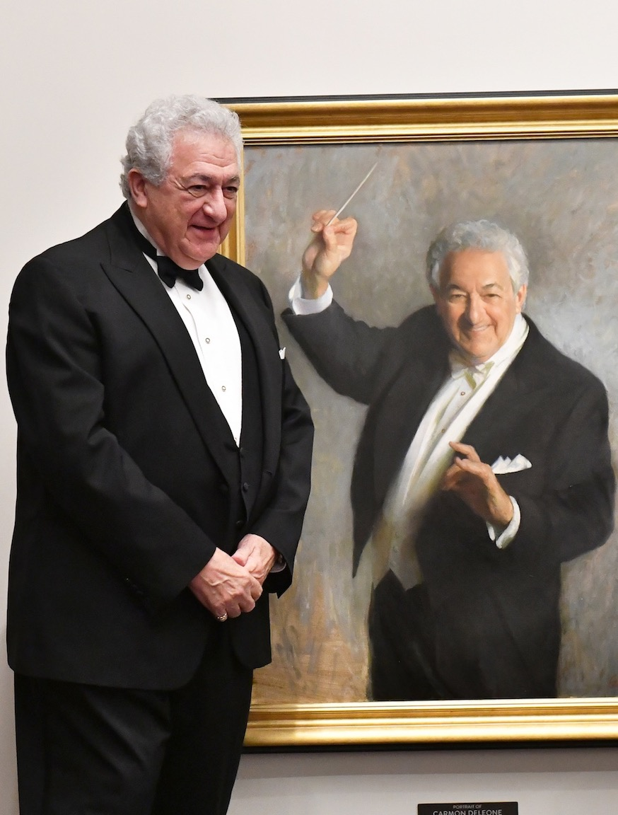 "Maestro Carmon DeLeone with  Portrait of Carmon DeLeone , 40"" x 30"", oil on linen canvas, Music Hall collection. Photo by Steven Thomas."