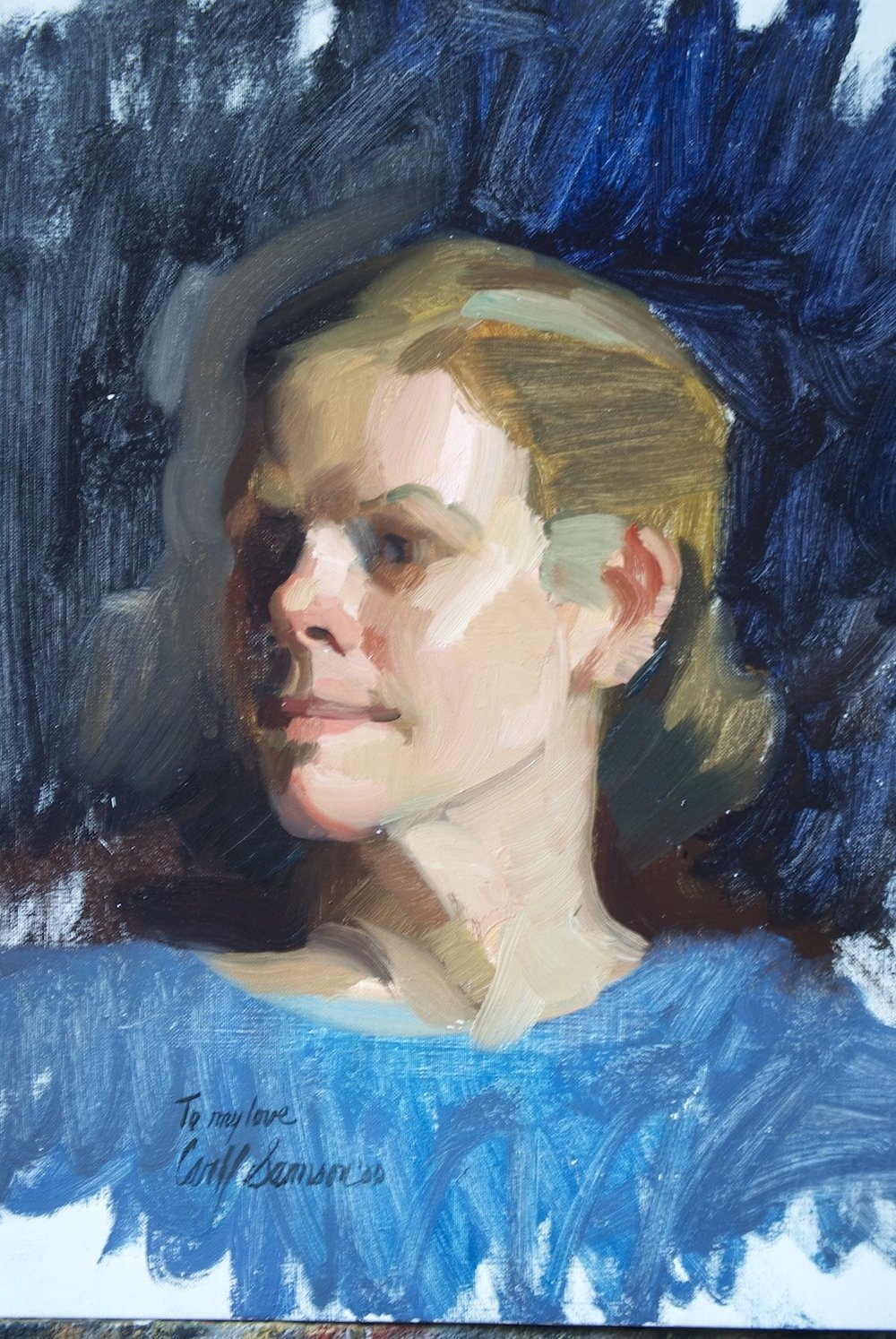 """The Artist's Wife , 20"""" x 16"""",  alla prima,  oil on linen canvas, collection of the artist. Featured in the movie   Artworks."""